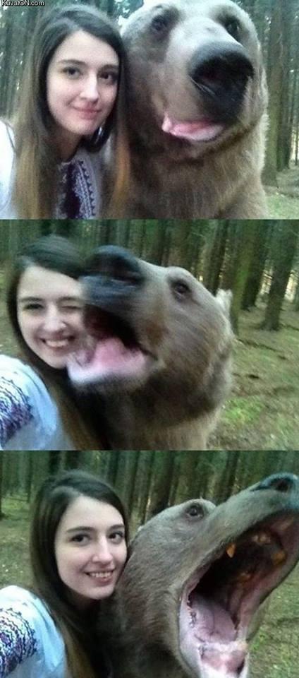 Zrobiła sobie selfie z niedźwiedziem!