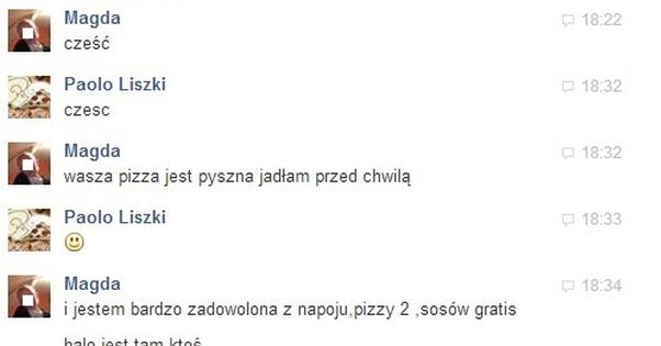 Dziwna laska napisała do pizzerii
