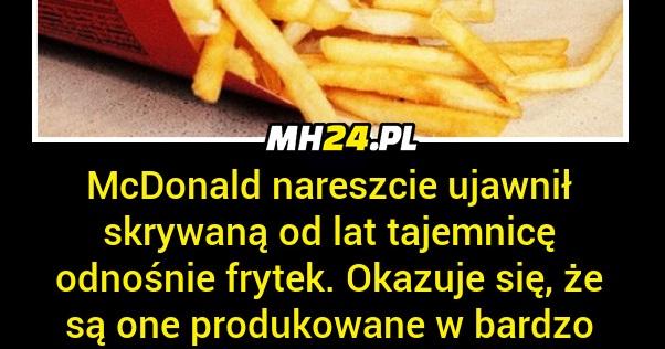 McDonald's ujawnił tajemnicę dotyczącą frytek