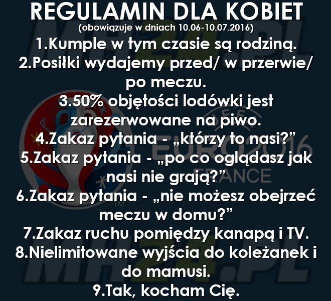 Regulamin dla kobiet na EURO 2016