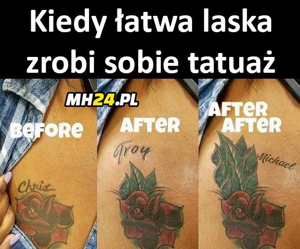 Kiedy łatwa laska zrobi sobie tatuaż