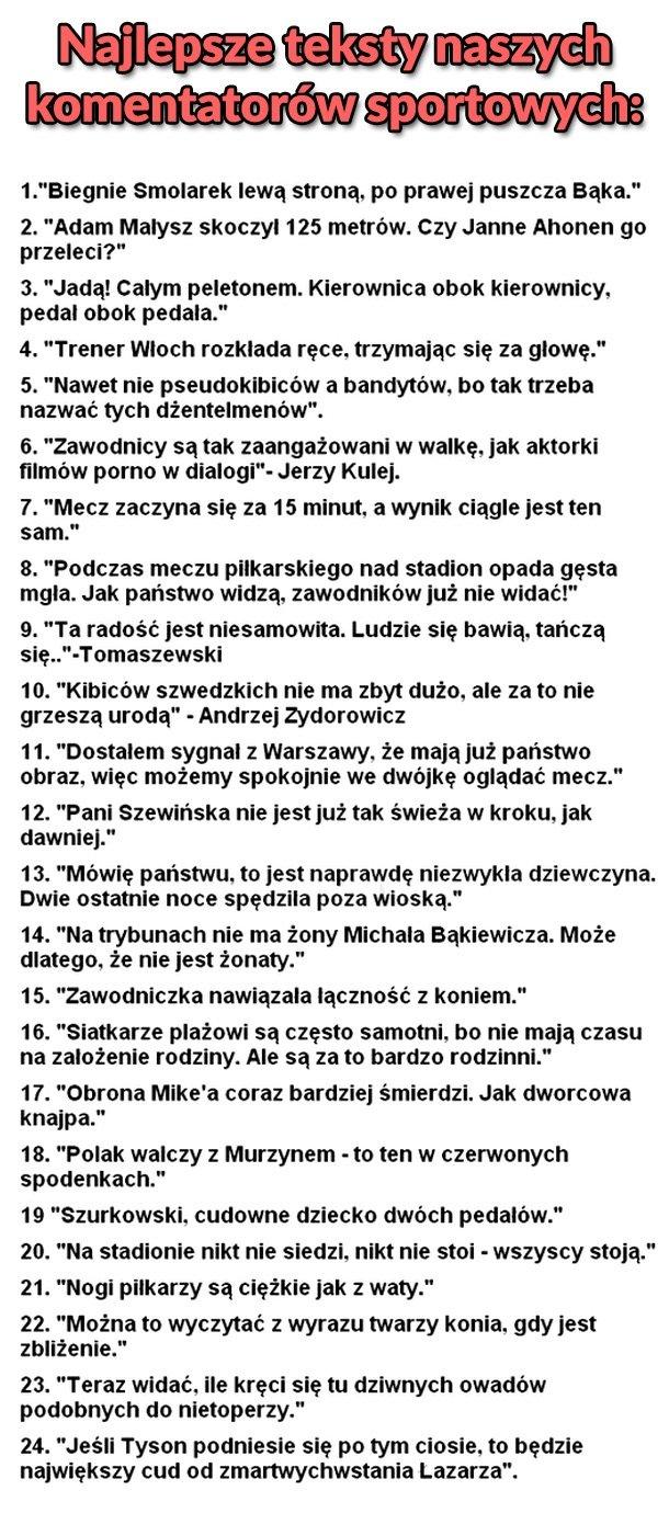 Najlepsze teksty polskich komentatorów sportowych