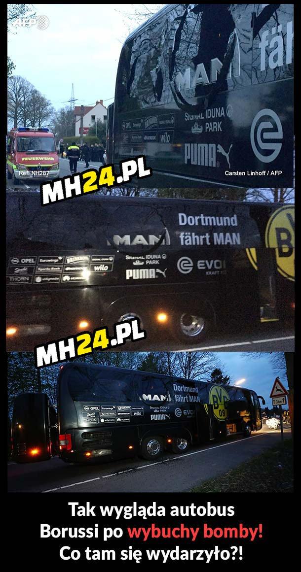 Tak wygląda autobus BVB po wybuchu bomby!