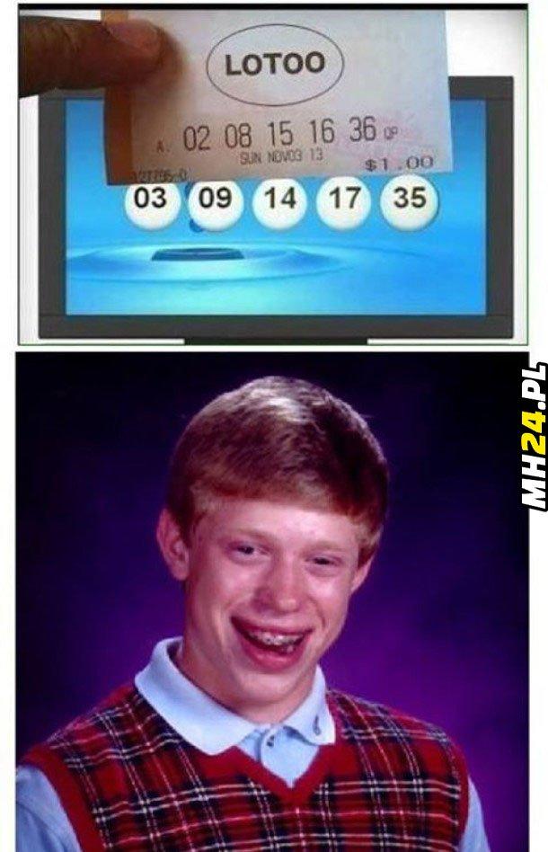 Pechowiec Brian gra w Lotto Obrazki