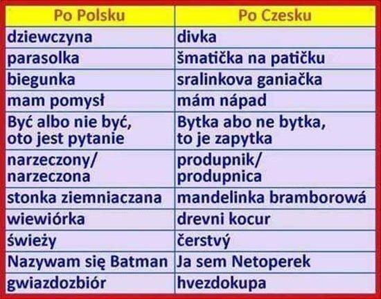 Czeski język śmieszny jest :D
