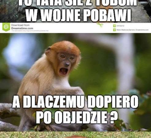 Janusz chce się pobawić z Pioterem w wojnę